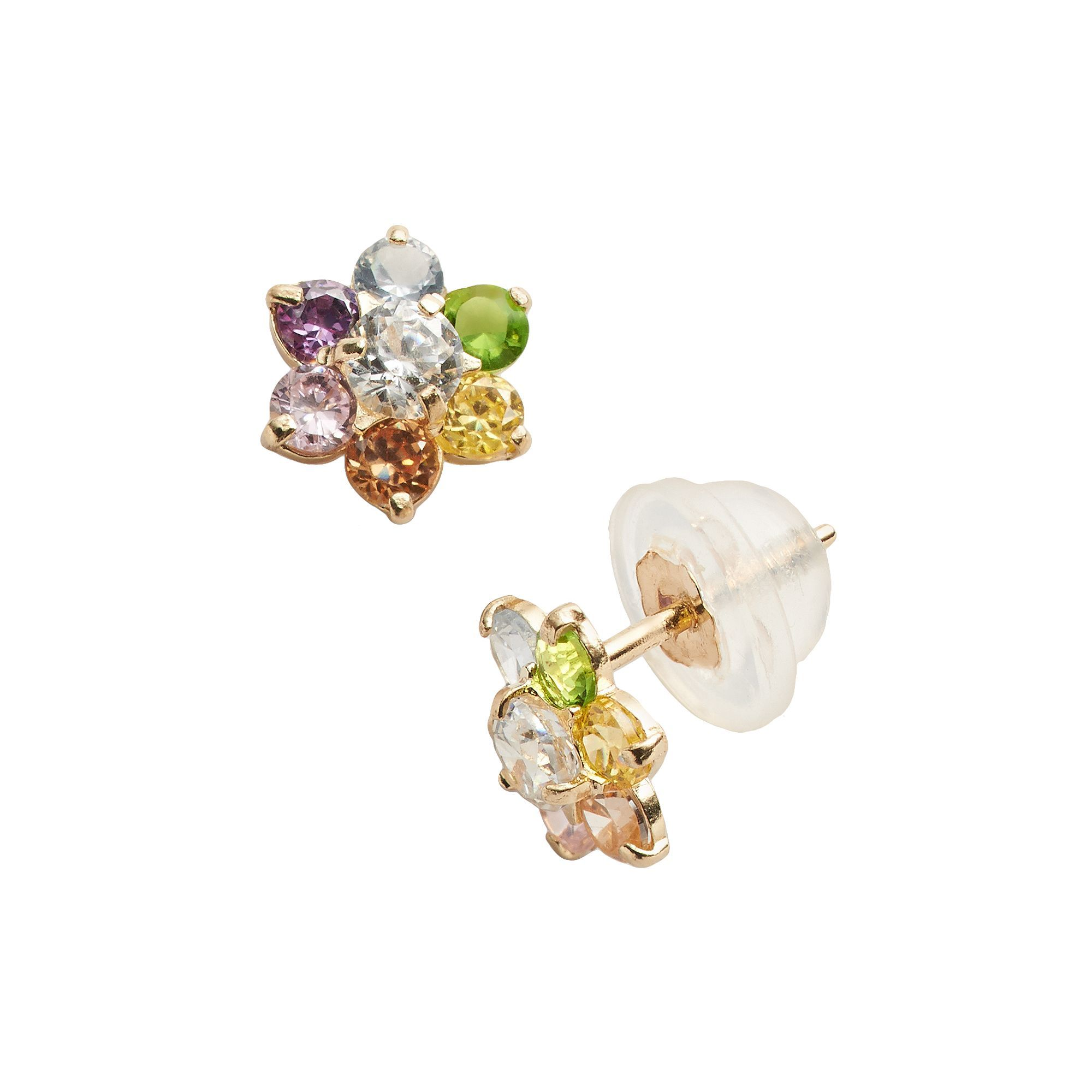 20976684d Junior Jewels 14k Gold Cubic Zirconia Flower Stud Earrings - Kids, Girl's,  multicolor