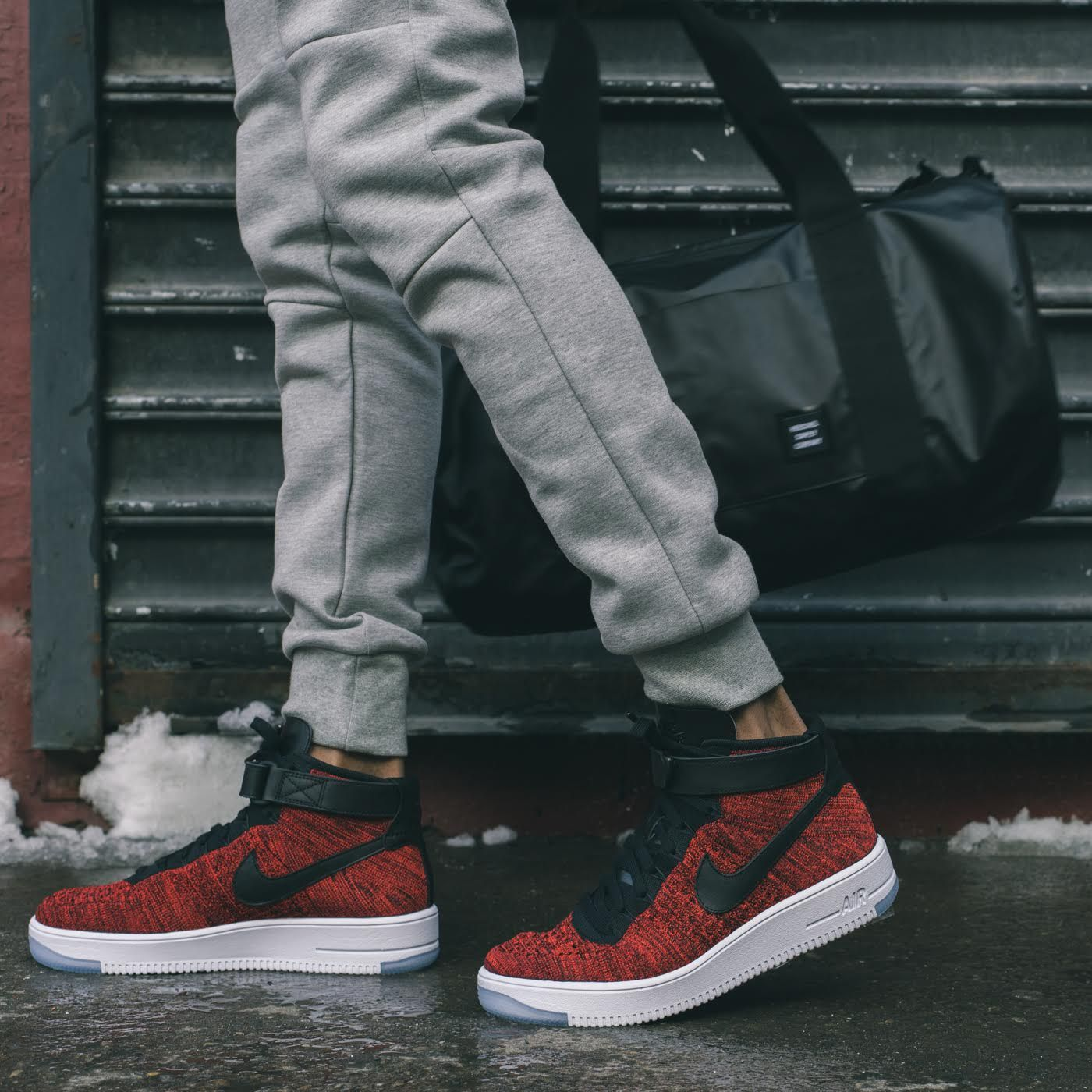 8854bcda5dbf An On-Feet Look At The Nike Air Force 1 Ultra Flyknit Red   Black •  KicksOnFire.com