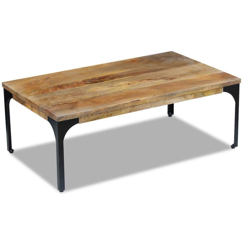Vidaxl Mango Wood Side Coffee Table Steel Frame Living Room