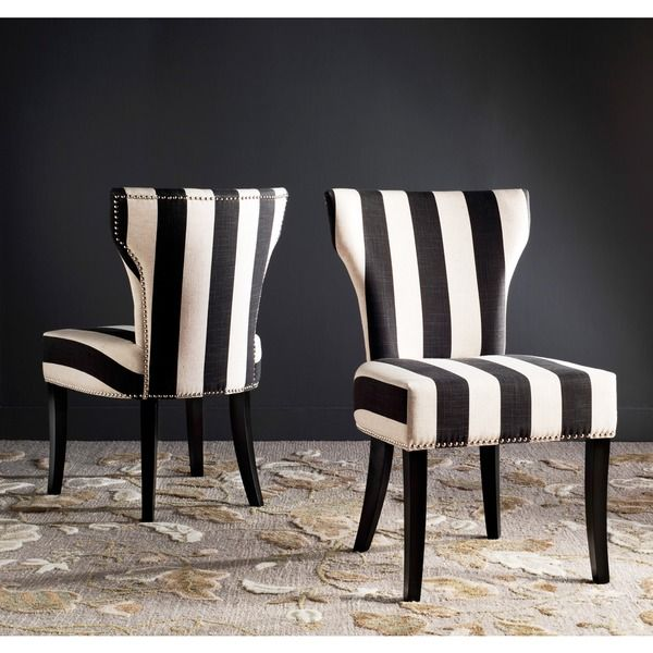Safavieh En Vogue Dining Matty Black and White Striped Side Chairs ...