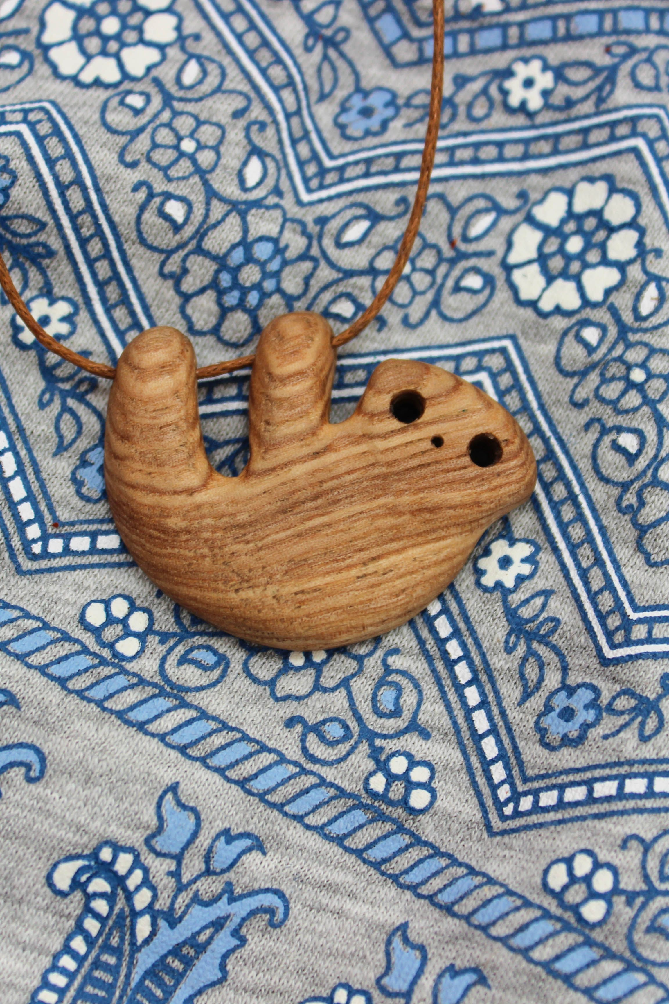 Wooden Sloth Necklace, Hanging Sloth Pendant, Baby Sloth Miniature, Carved Date Gift #babysloth