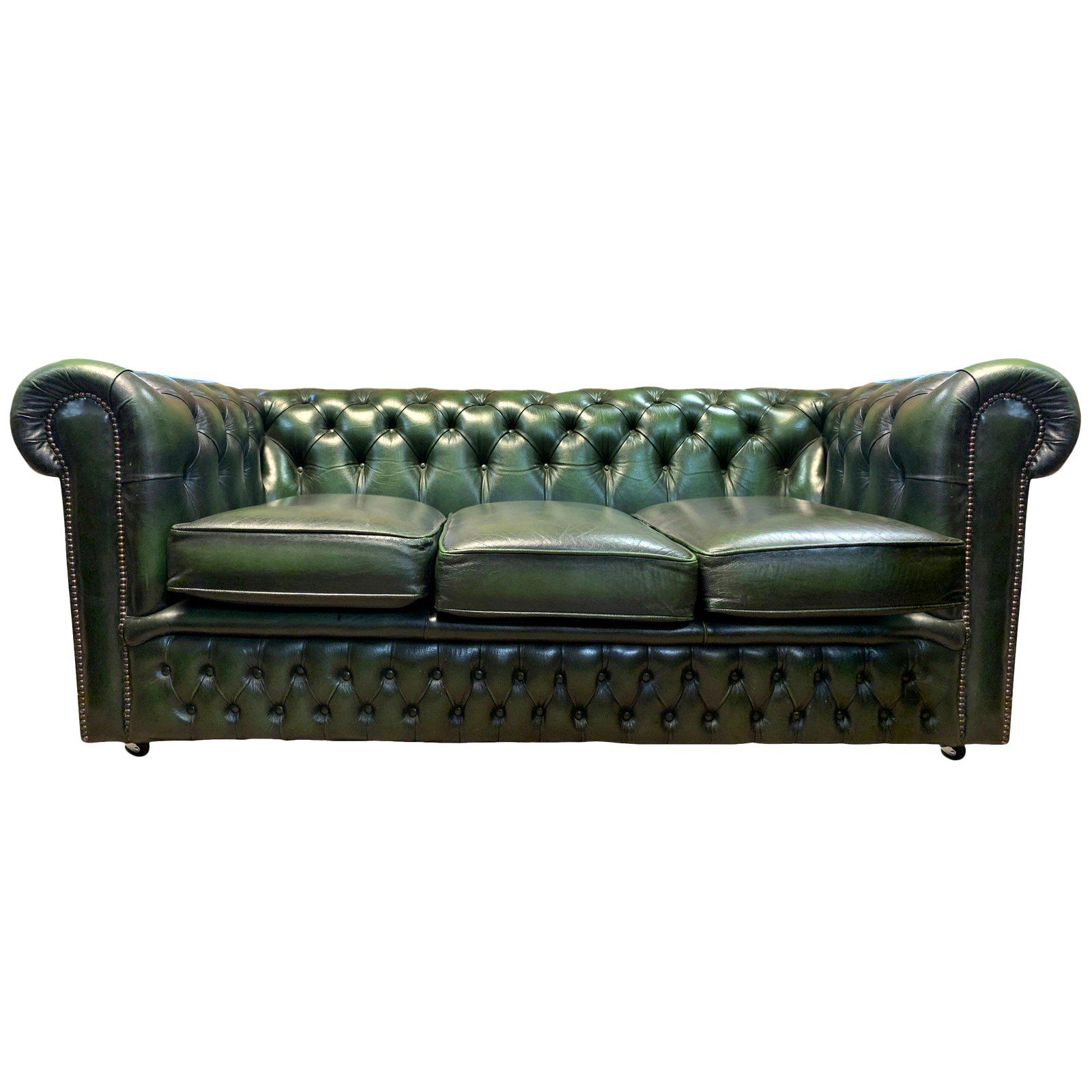 Midcentury English Emerald Green Chesterfield Sofa Green Leather