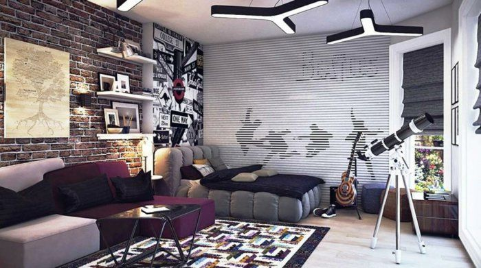 Kinderzimmer Ideen Jungs Design In Grau Und Lila Gitarre Teleskop