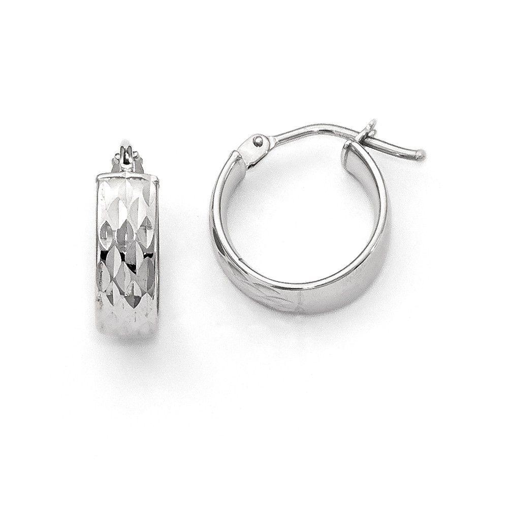 Italian 14k Gold Polished and Diamond Cut Hoop Earrings, Women's