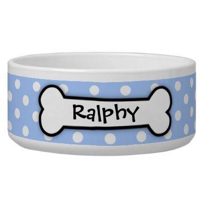 Cute Blue Polka Dot Dog Bowl Personalized