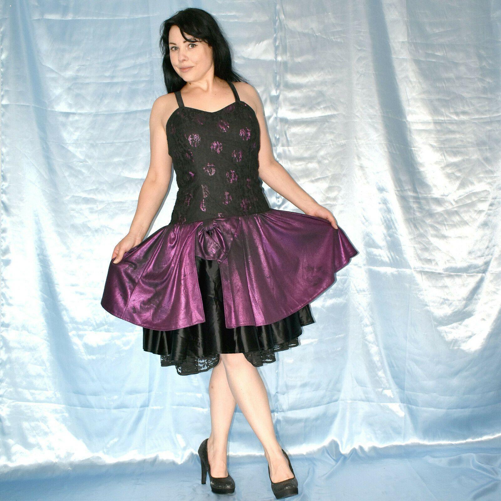 lila-schwarzes spitzen abendkleid s 38 sommerkleid etuikleid