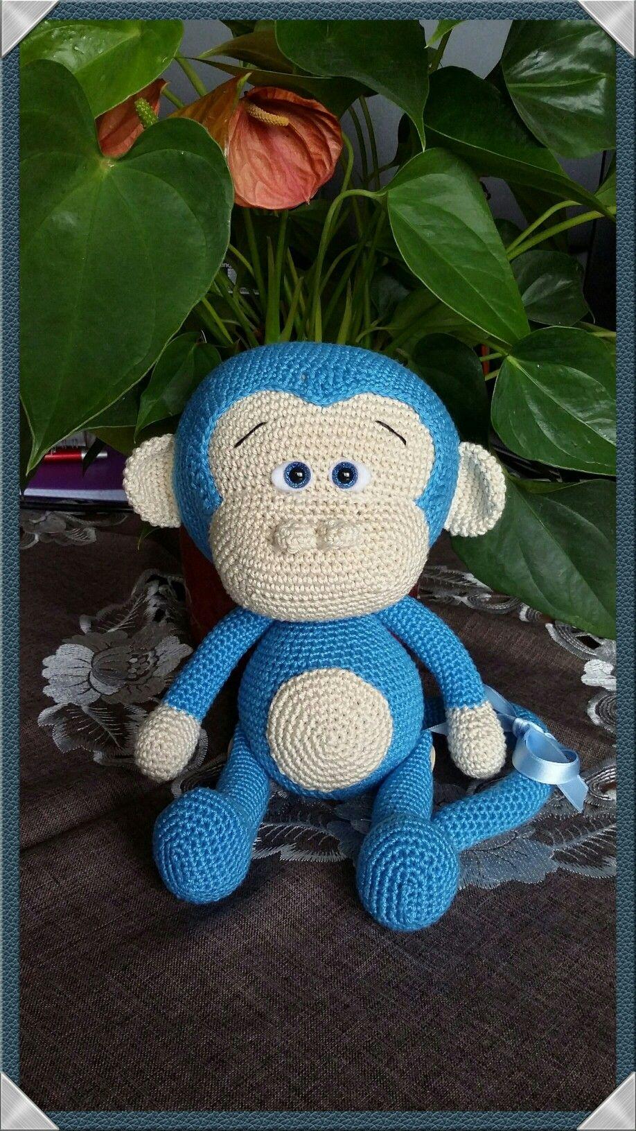 Der Kleine Blaue Affe Von Havva Designs örgü Oyuncak Pinterest