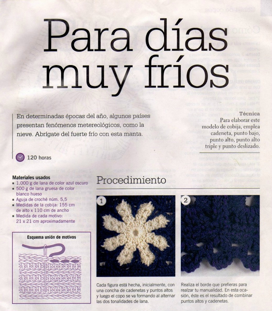 Manta Copo de Nieve Crochet Patron - Patrones Crochet | mantas a ...