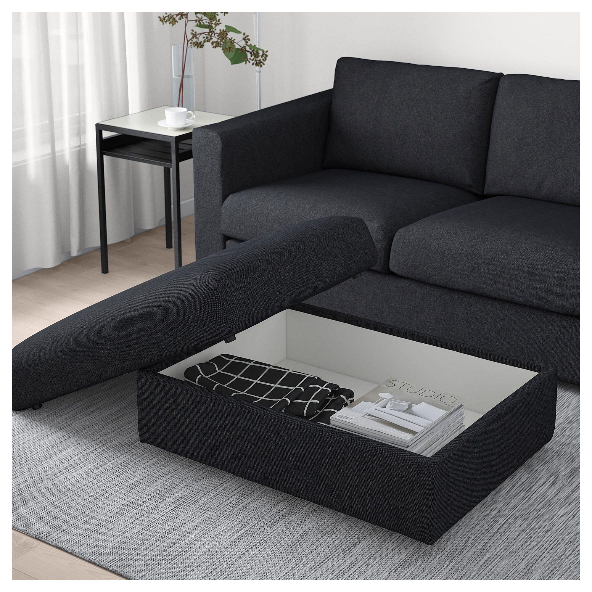 Enjoyable Ikea Vimle Tallmyra Black Gray Ottoman With Storage In 2019 Caraccident5 Cool Chair Designs And Ideas Caraccident5Info