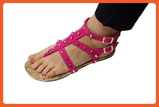 ce5f65691f042 Women s Fashion Studded Gladiator Strappy Thong Sandal (GS-6341) Pink 5 6 M  US - Sandals for women ( Amazon Partner-Link)