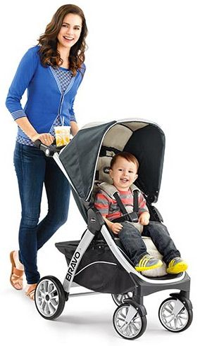 Mother Pushing Baby In Chicco Stroller Baby Stroller