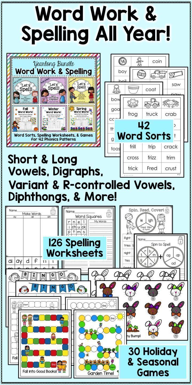 Word Work & Spelling All Year! Word Sorts, Games, & Worksheets ...