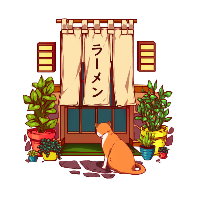 A very cute red cat is sitting near the Japanese ramen