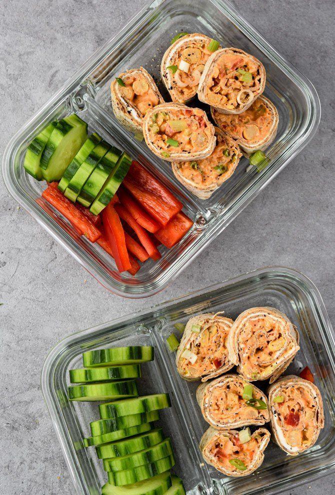 Buffalo Chickpea Pinwheel Meal Prep - Meal Plan Addict #mealprepplans