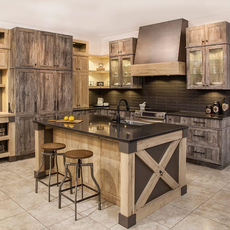 Bout Dîlot Avec Panneaux De Mélamine Egger En Croisillons Et Fer - Table bois et fer forge pour idees de deco de cuisine