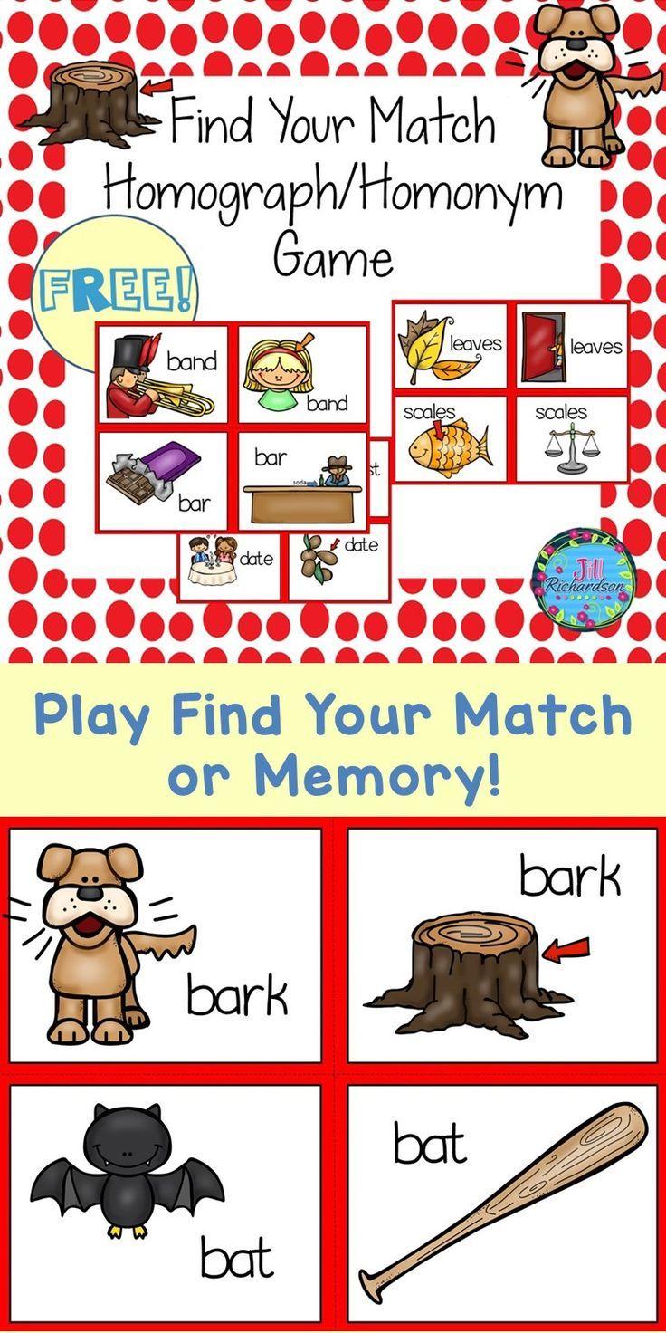 Homographs Homonyms Literacy Game Find Your Match Fun Esl Game