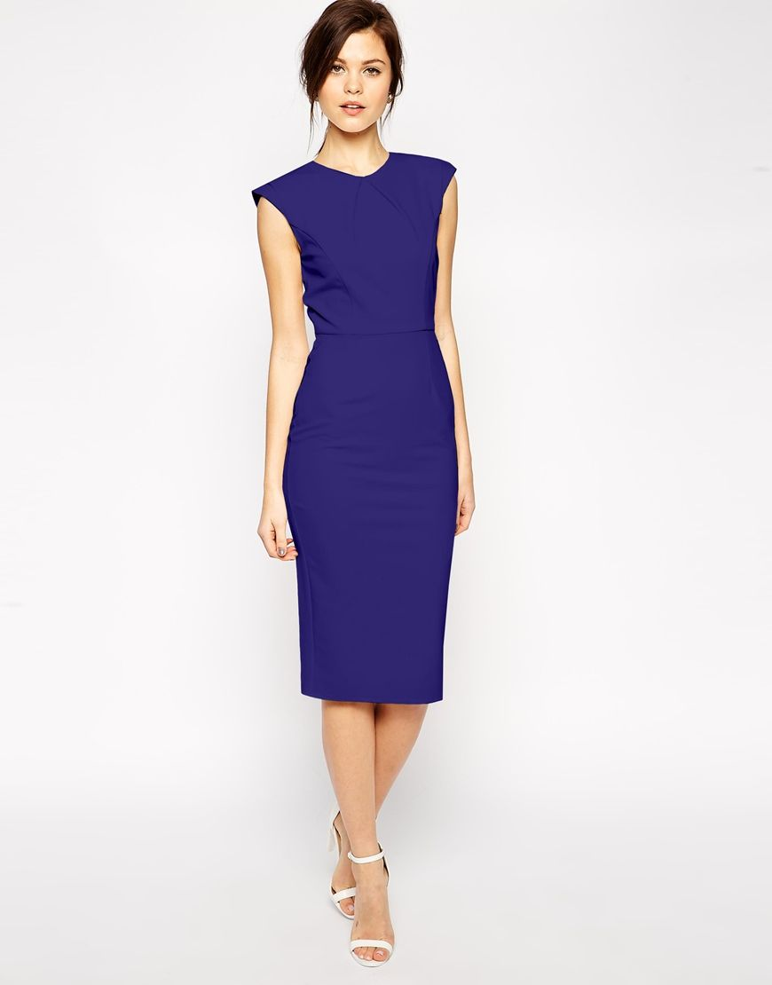 Image 1 of ASOS Pencil Dress with Structured Fold Sleeve | Above ...