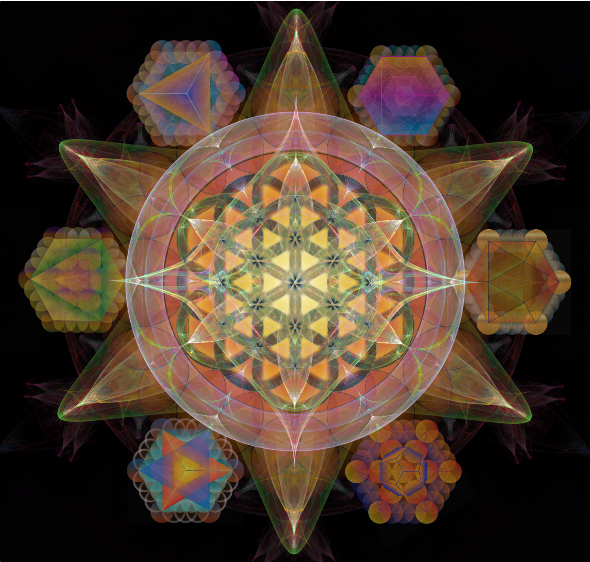 The Flower of life, platonic Solids, metatrons cube, sacred geometry,  fractal,