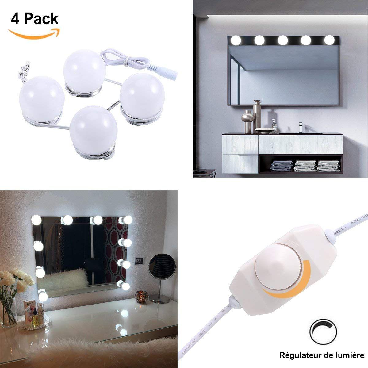 Greenclick 4 Miroir Lampe Miroir Maquillage Regulateur De Lumiere Avec Adaptateur Pour Miroir De C Miroir Avec Lumiere Miroir Maquillage Miroir De Courtoisie