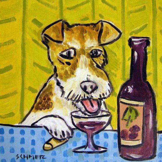 FOX TERRIER at the wine bar dog art tile coaster