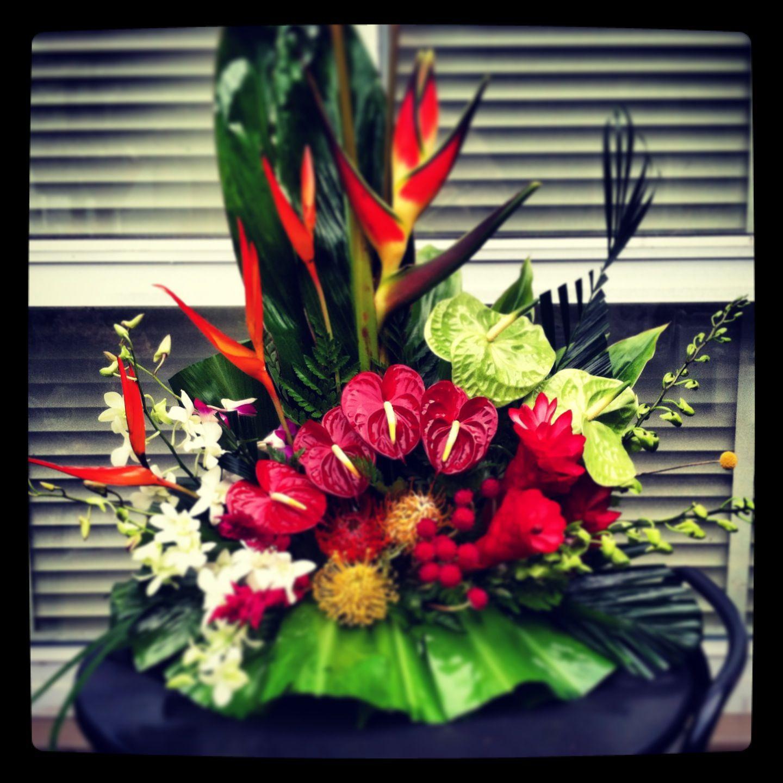 Hawaiian Wedding Altar: Floral Tropical Arrangement In A Fan Style. Red & Green