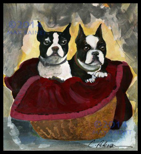 Best Friends Pair of Boston Terrier Dogs in Basket Fine Art Print Hand Signed | eBay