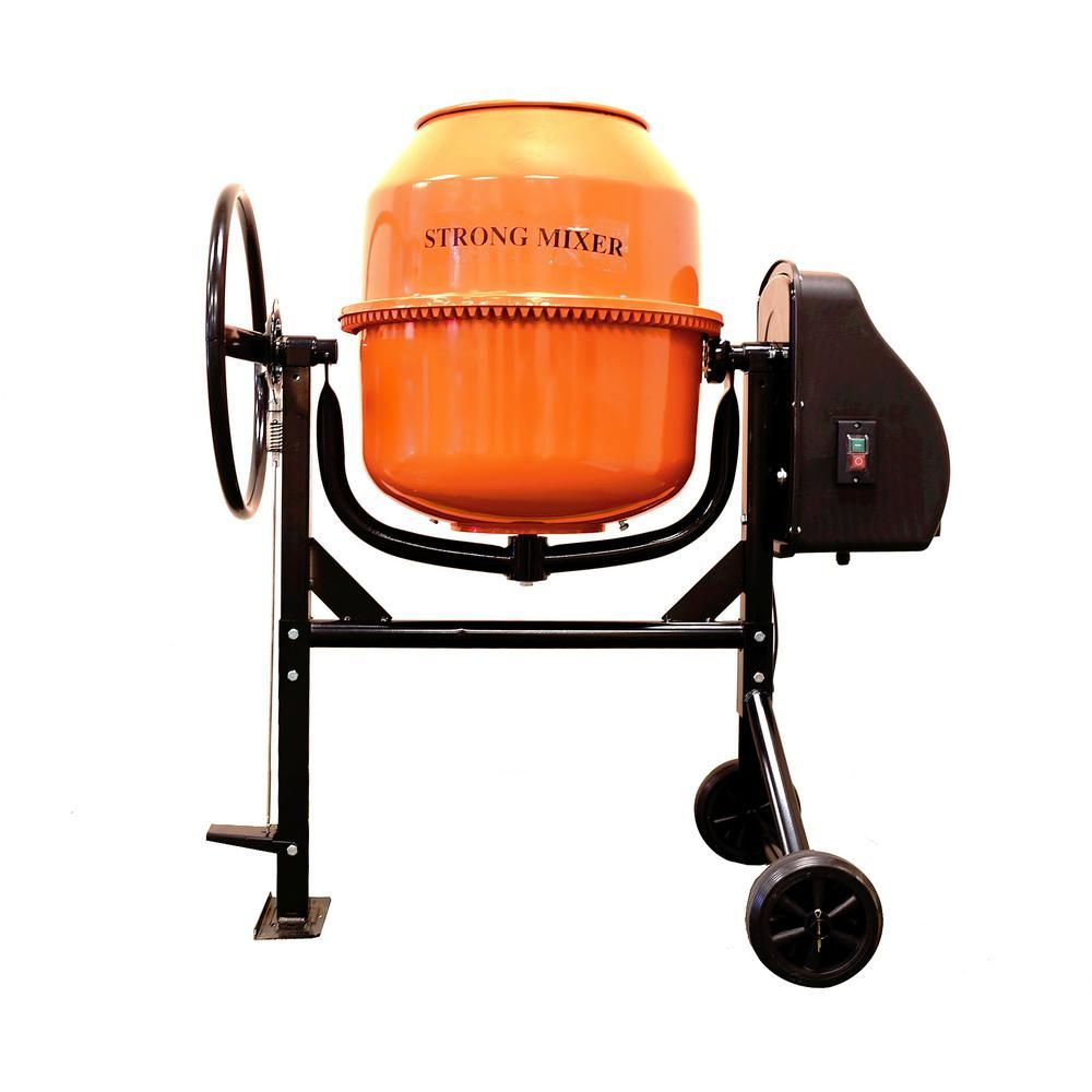 Plywell 3 5 Cu Ft 2 3 Hp 120 Volt Motor Direct Drive Cement Mixer Cm120 The Home Depot Cement Mixers Cement Concrete Mixers