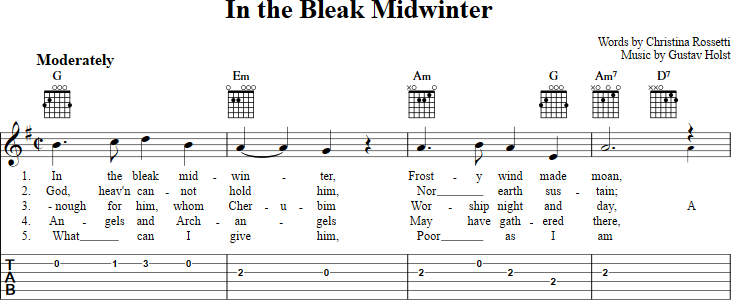 In The Bleak Midwinter Sheet Music For Guitar With Chords Lyrics