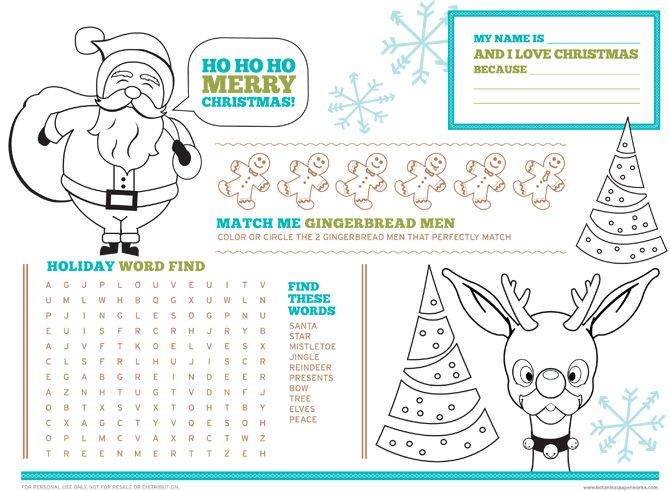 Love this Free Printable Christmas Activity Placemats for Kids and - wandgestaltung in der küche