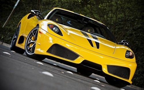 European Cars Yellow Ferrari