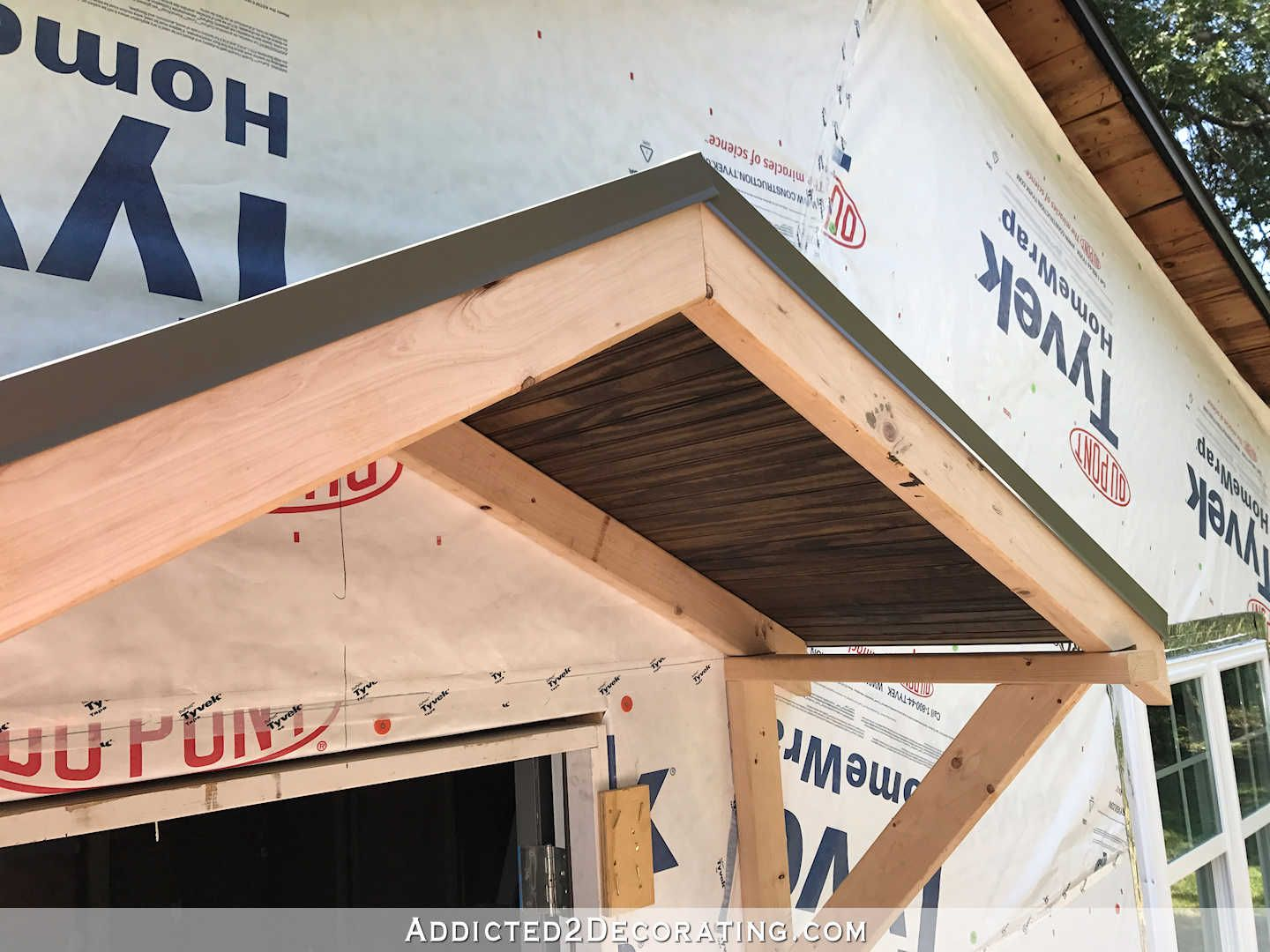Diy Portico Part 2 Finishing The Ceiling The Roof Addicted 2 Decorating Portico Diy Awning Diy Front Porch