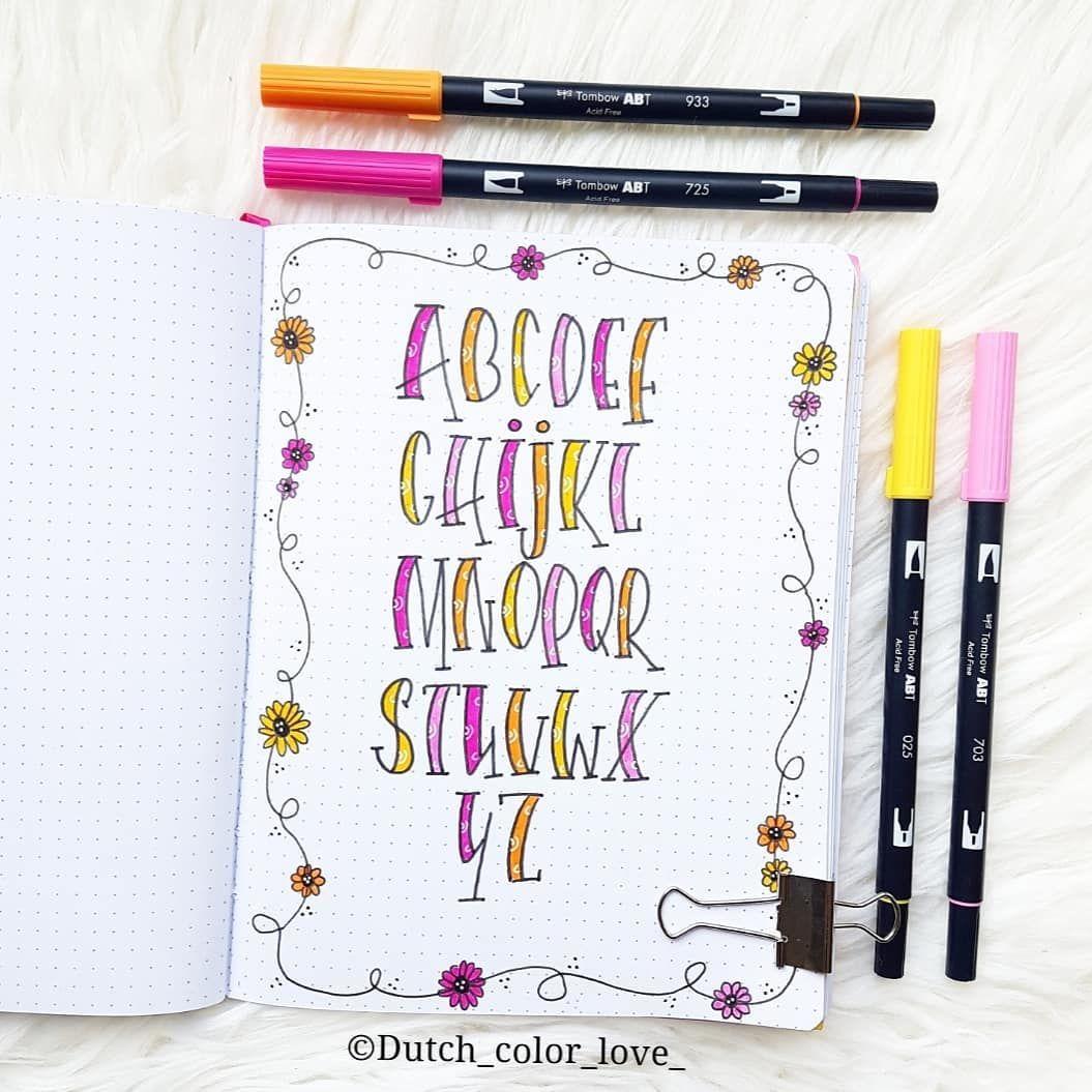 """Dutch_color_love_ on Instagram: """" ALFABET Een overzicht van de letters die ik heel vaak gebruik met handletteren, ik weet niet eens of het een bestaand lettertype is?!…"""""""