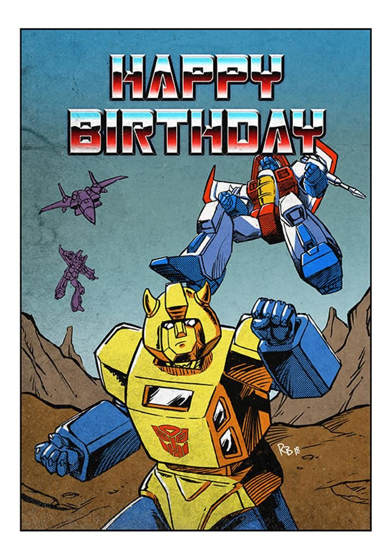 Transformers Bumblebee Comic Birthday Card Etsy Transformers Bumblebee Birthday Cards Birthday Card Messages