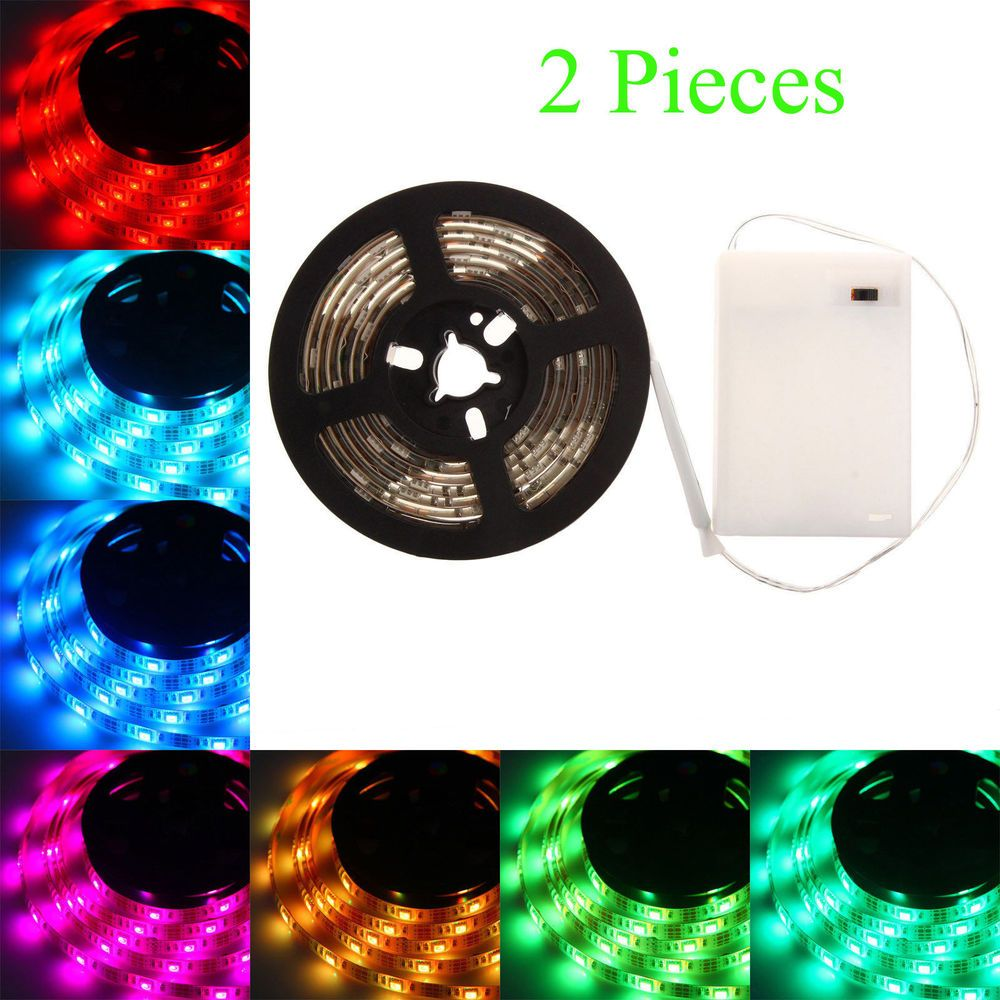 2pc Led Light Strip 4 5v Battery Box Showcase Camping Nightlight 200cm Backlight Unbranded Atanyroomfortvbackligh Led Light Strips Strip Lighting Night Light