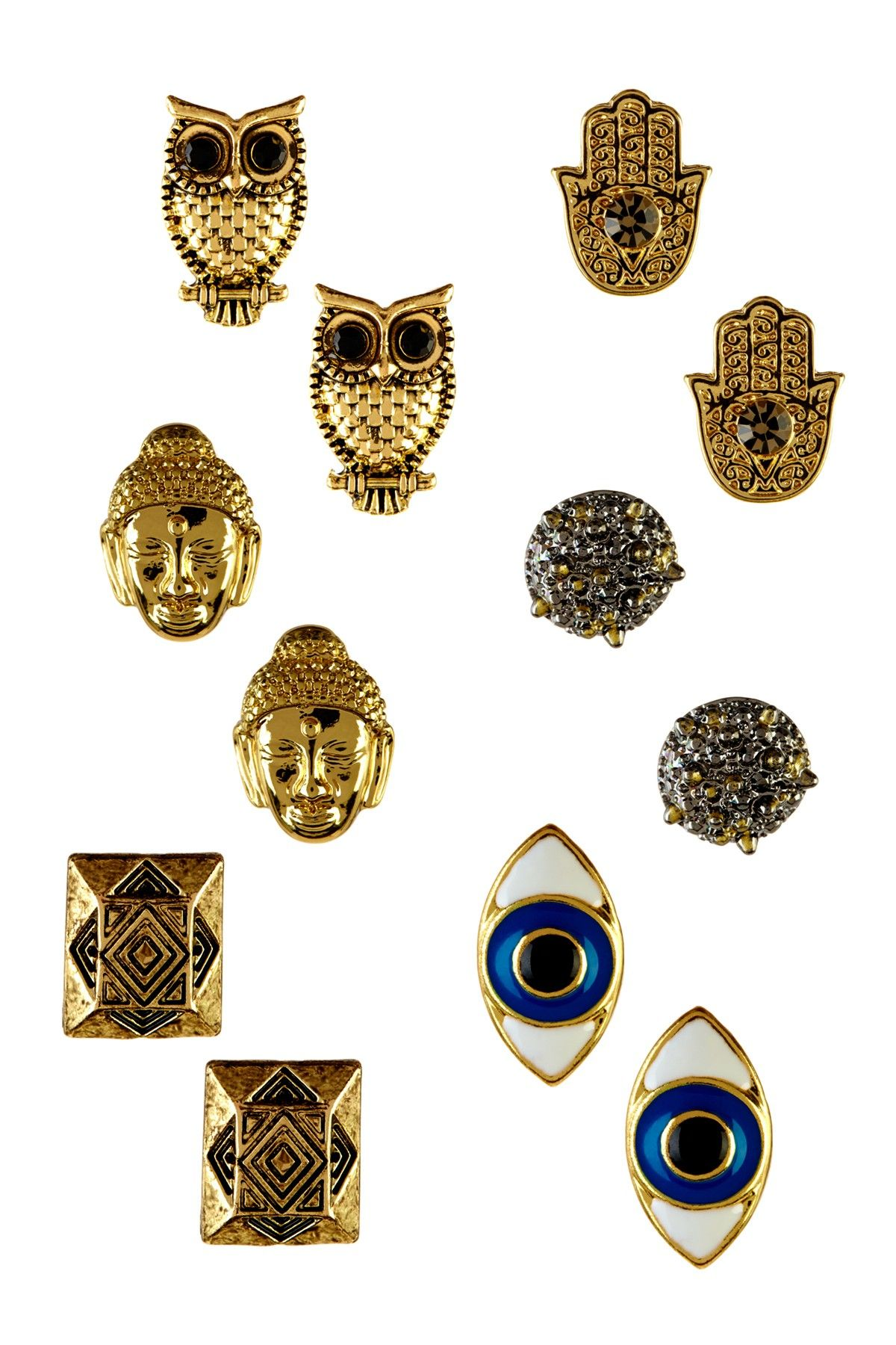 Pipa Swarovski Crystal Stud Gold Earrings Set - owls, Buddha, evil eye, oh my!