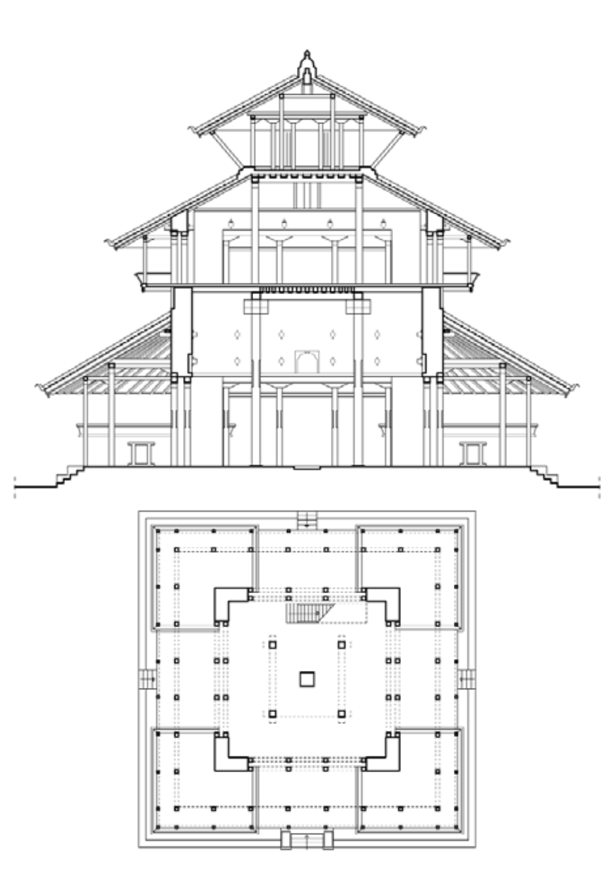 Kasthamandapa, Ground Floor Plan And Section, Kathmandu. Source: Http://