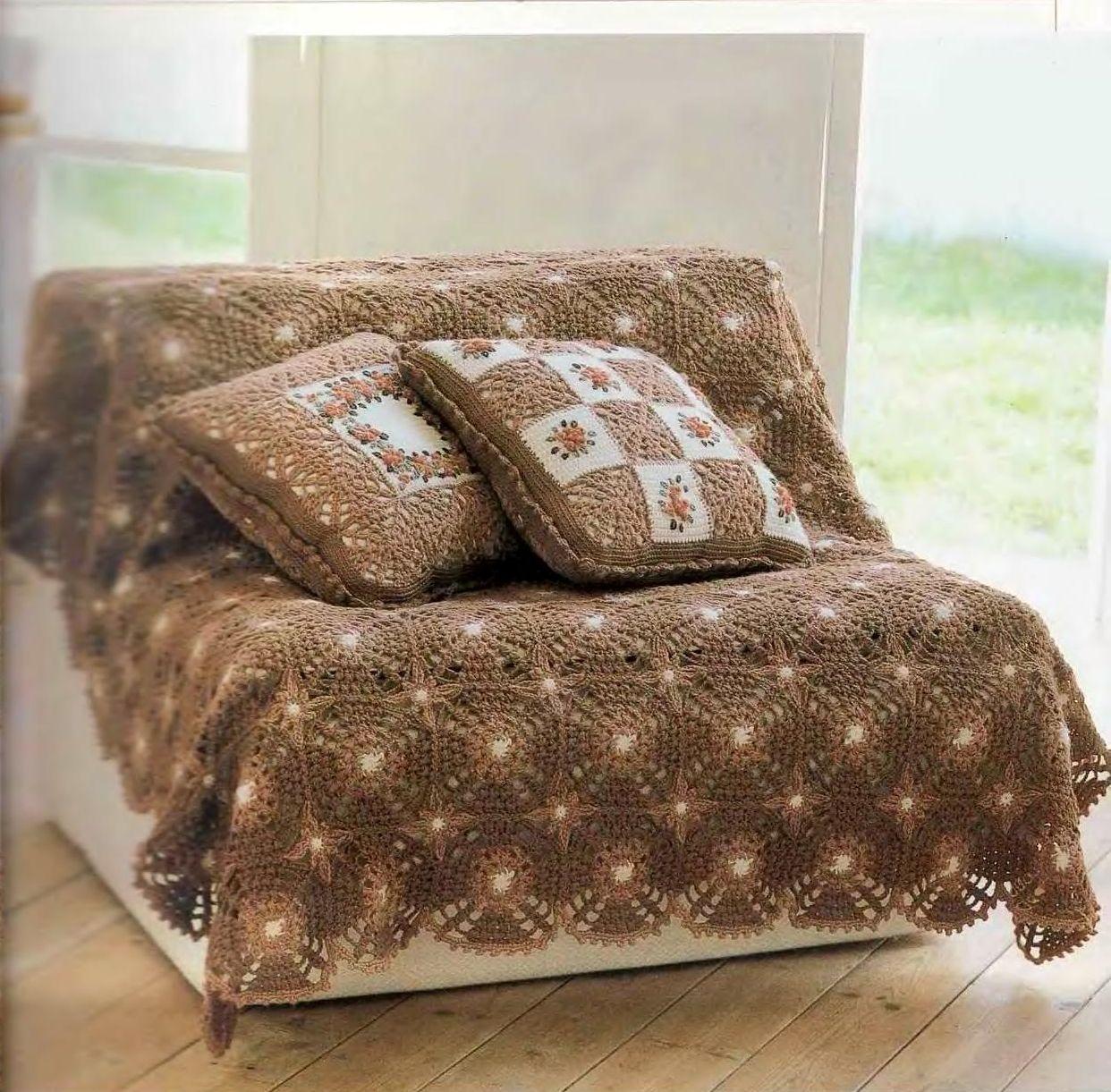 Id ias para crochetar manta para sof em croch - Manta para sofa ...