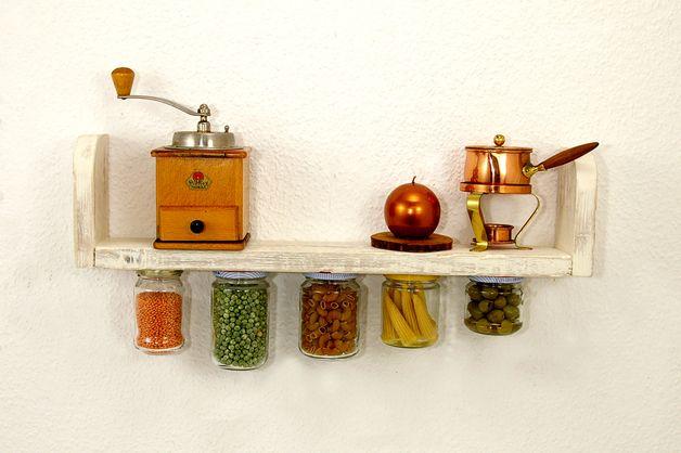 Wandregale - Regal aus Holz Aufbewahrungsgläsern Küchenregal - ein