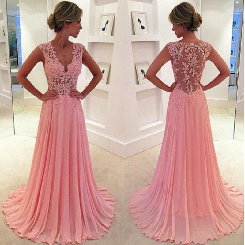 Nice Pink Prom Dress - Scoop Floor Length Pleated with Lace Illusion ...