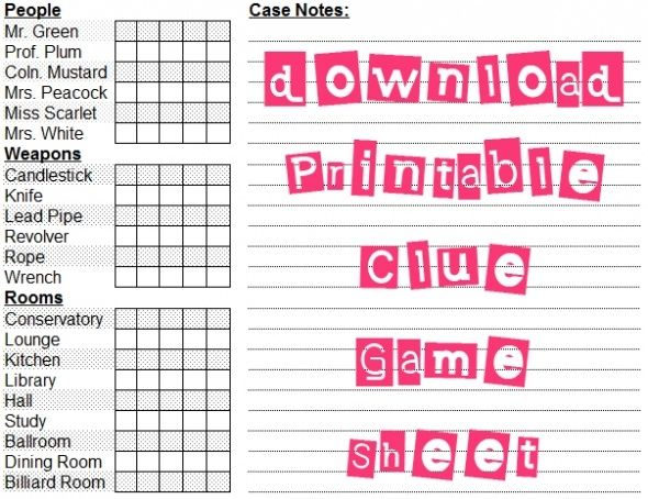 This Printable Clue Scoresheet Helps You Solve Your Favorite