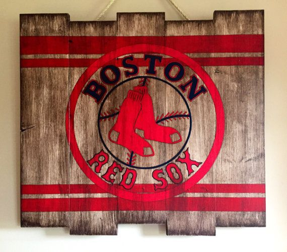 Boston Red Sox Wooden Art Hand Painted By The Rustic Paw Baseball