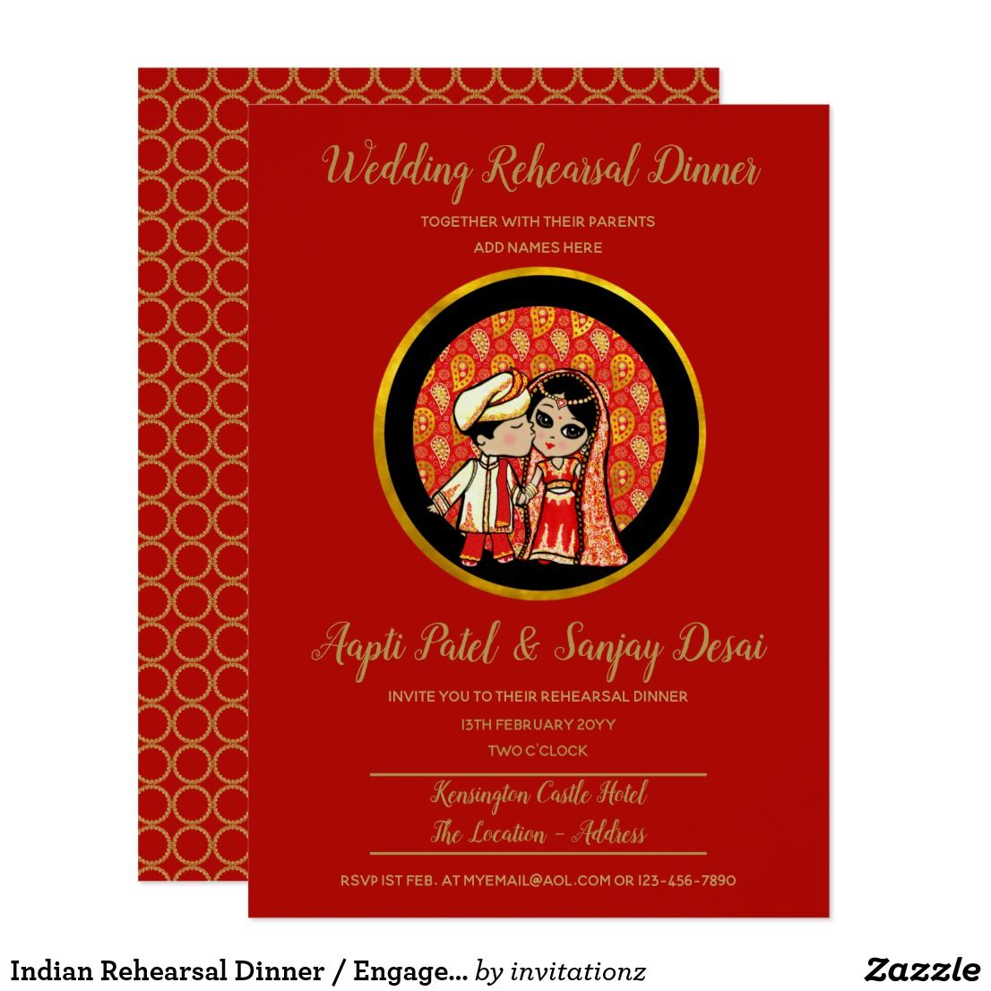 Indian Rehearsal Dinner / Engagement Cute Red Gold Invitation ...