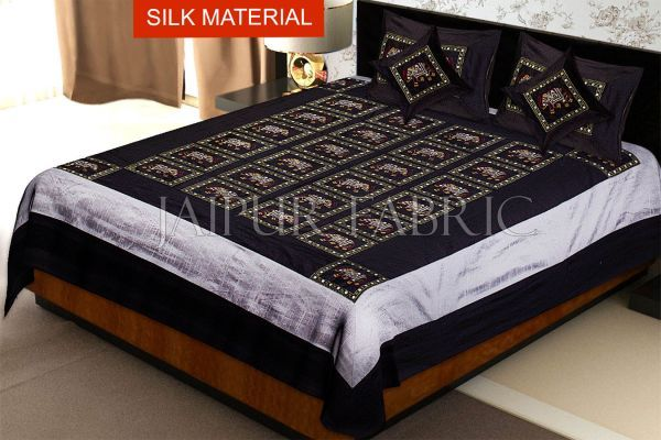 Black Elephant Embroidered and Mirror Work Silk Double Bed Sheet