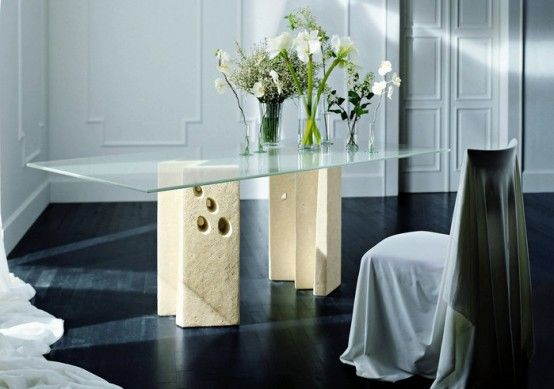 Modern Dining Table With Stone Base  Vicenza Shapes From Diotti A Extraordinary Bases For Glass Dining Room Tables Review