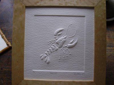 Bogavante - Relieve  materiales: papel de algodón artesanal 20 x 19 cm