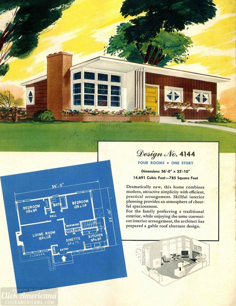 See 110 vintage 50s house plans used to build millions of mid century homes