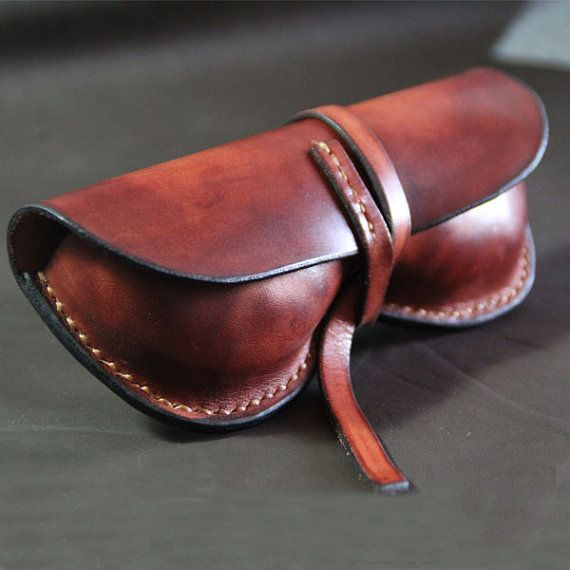Hand Stitched Leather Glasses Case sunglasses cover--vintage red brown