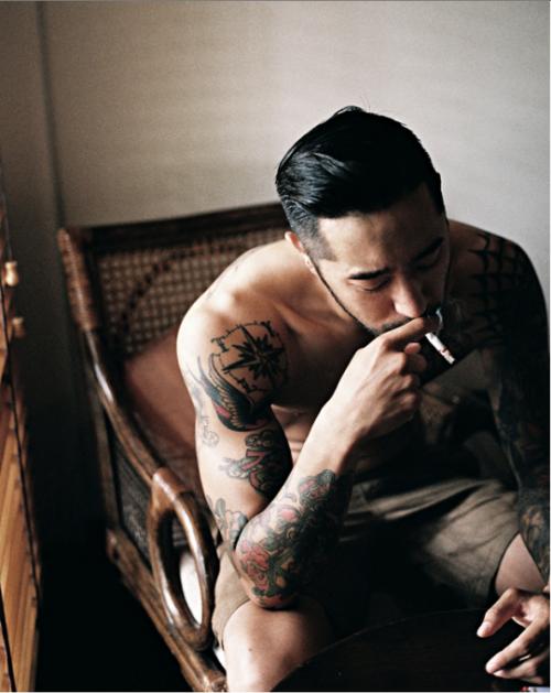 http://chicerman.com  sunshineandfeelingfine:  tattoos smoke good hair  #summerlook