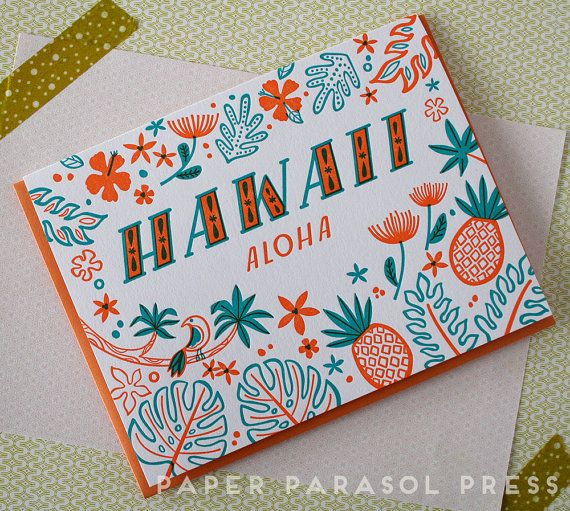 Hawaii Letterpress Greeting Card by paperparasolpress on Etsy