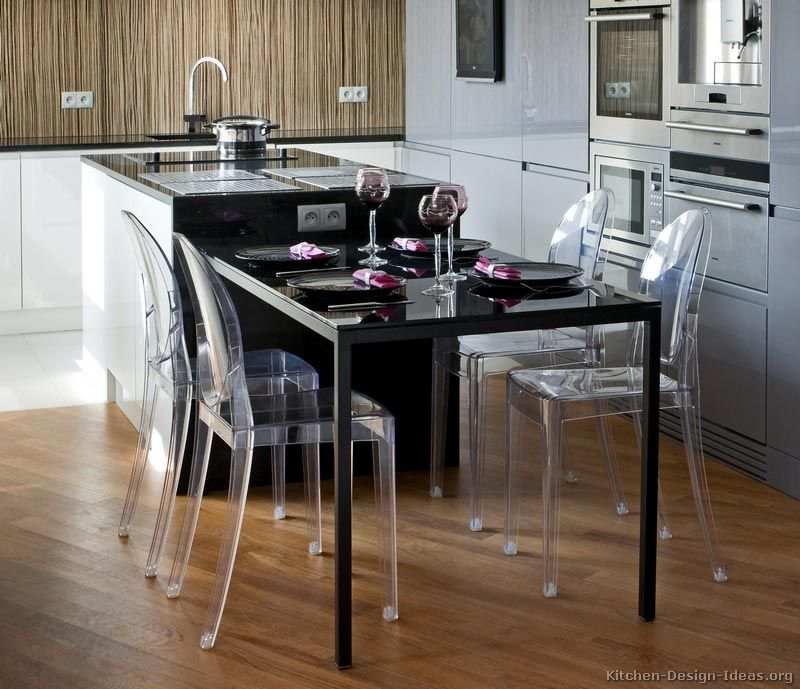 modern luxury kitchen with black island table and plexiglass chairs - Black Kitchen Tables